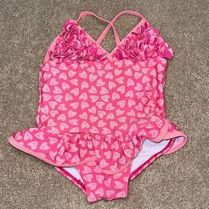 EUC One piece pink hearts toddler's swimsuit 2T
